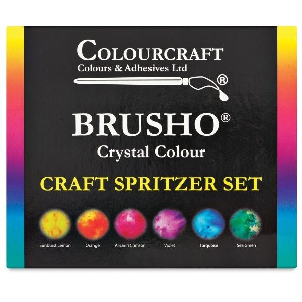 Brusho Crystal Colours Set of 6 Pots with Spritzer